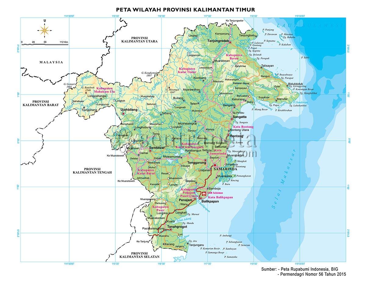 peta atlas provinsi kalimantan timur sentra peta
